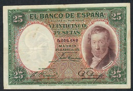 SPAIN P81 25 PESETAS 25.4.1931 # 0.009.680  VF - Zonder Classificatie