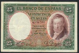 SPAIN P81 25 PESETAS 25.4.1931 # 0.139.351  VF - [ 2] 1931-1936 : Repubblica