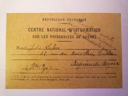 2020 - 6937  Carte Du Centre National D'Information Sur Les Prisonniers De Guerre  (2è Réponse)  1940  XXX - Guerre 1939-45