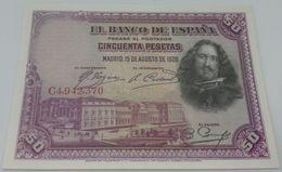 Billete 1928. 50 Pesetas. Madrid, España. Rey Alfonso XIII. Pintor Velázquez. Tercios. Rendición De Breda. Flandes. SC. - [ 1] …-1931 : Primeros Billetes (Banco De España)