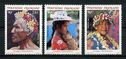 POLYNESIE 1987 N° 272/274 ** Neufs MNH Superbes C 3.70 € Visages Vieillard Fleurs Flowers Femmes Chapeau Collier - Polinesia Francese