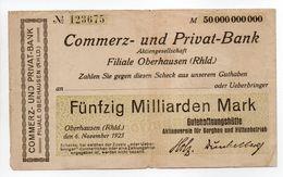- Billet ALLEMAGNE - Fünfzig Milliarden Mark - COMMERZ- UND PRIVAT-BANK - FILIAE OBERHAUSEN (RHLD) - - [ 3] 1918-1933 : República De Weimar