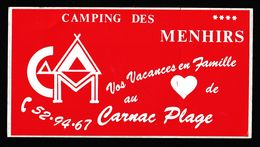 AUTOCOLLANT CAMING DES MENHIRS CARNAC - Pegatinas