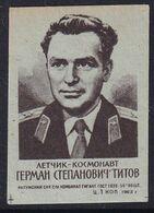 Russia CCCP Space Weltraum Espace: Matchbox Label; German Titov; Vostok 2 - Luciferdozen - Etiketten