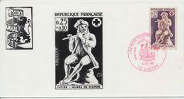 Premier Jour 1967 La Croix Rouge Et La Poste 0,25 + 0,10 - 1960-1969