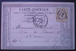 Argentan 1876 GC 153, Carte Précurseur Pour Rouen - 1849-1876: Periodo Clásico