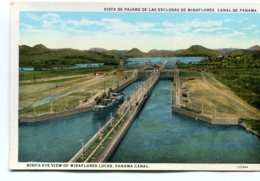 PANAMA - Bird's Eye View Of Miraflores Locks Panama Canal With Ship Etc - Panama