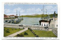PANAMA - Harbor Scene And Piers Entrance To Panama Canal  With Ship Etc - Panama