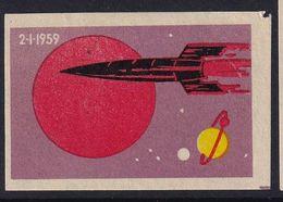 Russia CCCP Space Weltraum Espace: Matchbox Label; Luna 1 Satellite Launch - Luciferdozen - Etiketten