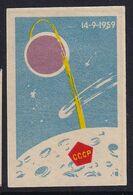Russia CCCP Space Weltraum Espace: Matchbox Label; Lunik 2; First Man-made Object To Land On Moon - Luciferdozen - Etiketten