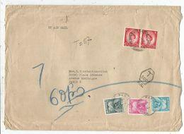 TAXE GERBES 50FR+5FR+2FR PARIS 1954 LETTRE AVION ENGLAND  2 1/2D PAIRE - Storia Postale