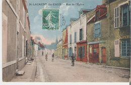 SAINT LAURENT DES EAUX. CP Voyagée Rue De L'Eglise - Unclassified