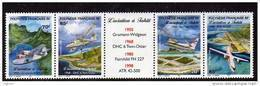Polynésie N° 556 / 59  XX L'aviation à Tahiti , Les 4 Valeurs  Avec Intervalle Central Sans Charnière TB - Polinesia Francesa