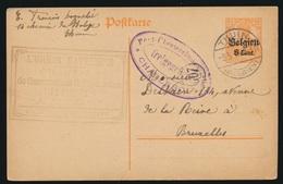 L'UNION BATELIERE THUIN   NAAR ASSE DUITSCHE CONTROLE STEMPEL 1917  HOUBLONS V.GINDERACHTER  2 SCANS - Asse