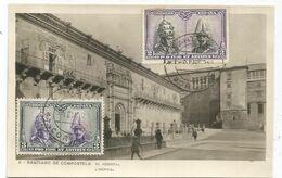ESPANA 3C+2C TARJETA POSTAL SANTIAGO DE COMPOSTELA CORUNA 1929 - 1889-1931 Royaume: Alphonse XIII