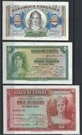 Spain España Espagne Lote 2.5.10 Pesetas 1935 / 1938. Unc SC - [ 2] 1931-1936 : Republiek