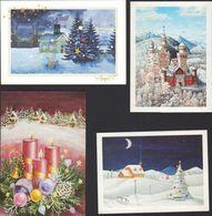 Biglietti Augurali Usati 4 Artisti Con La Bocca R.Weber L. Bucchi I. Adachi J.B. Unikowska Greeting Cards USED MAT00003 - Weihnachten