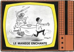 ILLUSTRATEUR - ALEXANDRE - LE MANEGE ENCHANTE-Femme Avec Un Rouleau De Pâtisserie Courant Derrière Son Mari Et Son Chien - Alexandre