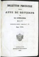 Bollettino Provinciale Atti Governo Lombardia Parte I Semestre Primo - Anno 1853 - Libri, Riviste, Fumetti