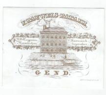 1 Carte Porcelaine  Stoomwerk   Tuymaker Mecanieken  F.Rauwels- Pataer    Koeypoort Gent     Lith.Hemelsoet - Ansichtskarten