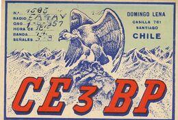 Radio Card  QSL Domingo Lena Santiago CE 3 BP.  Andes . Aigle Eagle . Condor . - Chile