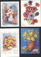 Biglietti Augurali USATI 4 Artisti Con La Bocca M. Kaminska R. Roberts R. Christensen Flowers Greeting Cards MAT00003 - Weihnachten