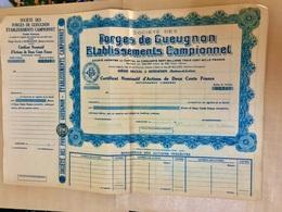 Sté Des Forges De Gueugnon Établissements  Campionnet ------------- Certificat  D' Actions  De  200 Frs - Industrie