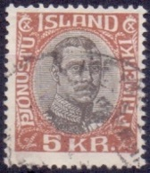 IJsland 1920 5kr Dienstzegel Christian X GB-USED - Dienstpost