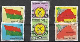 BURKINA FASO - 1985 - SIMBOLI NAZIONALI - SERIE CPL 6 VAL.(P.O.+P.A.) USATA ( YVERT 640/642+AV278/280 - MICHEL 982/986) - Burkina Faso (1984-...)