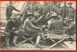MILITARIA- Guerre 1914/18- Une Visite Dans Un Camp Américain En France-La Partie De Cartes - Scans Recto Verso - Weltkrieg 1914-18