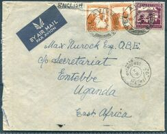 1941 Palestine Tel Aviv, Airmail Censor Cover Roskin, Rothschild Boulevard - Max Nurock OBE, Secretariat, Entebbe Uganda - Palestine