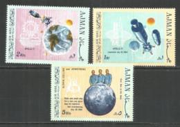Ajman 1969 Mint Stamps MNH(**) Mi # 466-68 A - Space - Ajman