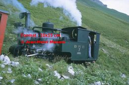 Reproduction D'unePhotographie D'une Locomotive à Vapeur à Crémaillère BRB 7 Brienz Rothorn Bahn En Suisse En 1972 - Riproduzioni