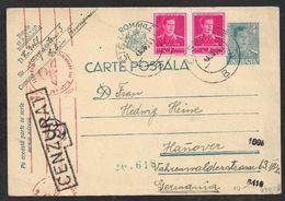 1941 RUMÄNIEN ROMANIA - Mi. P 101 - + 10L (2x5l) N. HANNOVER - CENZURAT + OKW ZENSUR - 2. Weltkrieg (Briefe)