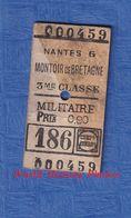 Ticket Ancien De Train D'un Militaire Américain - Trajet NANTES / MONTOIRE De BRETAGNE - 3e Classe WW1 1918 1919 - Chemins De Fer