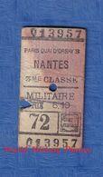 Ticket Ancien De Train D'un Militaire Américain - Trajet PARIS Quai D' Orsay / NANTES - 3e Classe WW1 1918 1919 Gare - Chemins De Fer