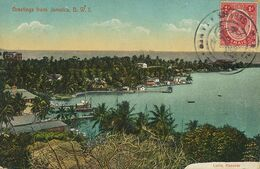 Jamaica Greetings General View  Edit Lucie Hanover  . Not Used Ship Postmark . Duperly - Jamaica