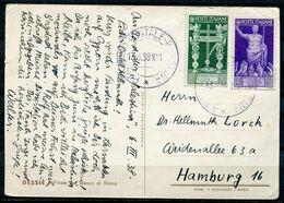 """Italien 1938 DESSIE Color Werbepostkarte(Banko) Mit Mi.Nr.579,581 Und Tstp""""vom 13.3.38,Italien-Hamburg """"1 Karte - Ohne Zuordnung"""