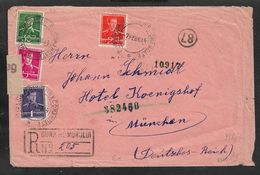 1944 RUMÄNIEN ROMANIA -  R-Brief / Reg - GURA HUMORULUI - BUCOVINA - ZENZURAT N MÜNCHEN + OKW Strip - 2. Weltkrieg (Briefe)