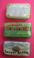 RARE 3 Boîtes Anciennes Pour Maintenir Sécurité Lames De Rasoir Blades For Best Safety Razors Coiffeur Hairdresser Old - Razor Blades