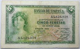Billete 1935. 5 Pesetas. República Española. Pre Guerra Civil. MBC - [ 2] 1931-1936 : Republiek