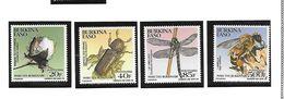 BURKINA FASO POSTE 857/860 INSCETES LIBELLULLE ABEILLE  MNH NEUF SANS CHARNIERE - Burkina Faso (1984-...)