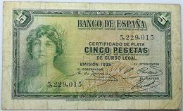 Billete 1935. 5 Pesetas. República Española. Pre Guerra Civil. Sin Serie. SS. MBC - [ 2] 1931-1936 : Republiek