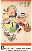 Illustration Mabel Lucie Attwell - Enfant Et Chat: Sorry I Can't Come Old Dear! (je Regrette, Impossible De Bouger) - Attwell, M. L.