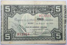 Billete 1937. 5 Pesetas. Bilbao. República Española. Guerra Civil. SS. Sin Serie. MBC. Caja De Ahorros Vizcaina. Banco D - [ 2] 1931-1936 : Repubblica