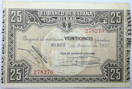 Billete 1937. 25 Pesetas. Bilbao. República Española. Guerra Civil. SS. Sin Serie. MBC. Caja De Ahorros Vizcaina. Banco - [ 2] 1931-1936 : Repubblica