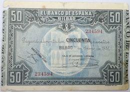 Billete 1937. 50 Pesetas. Bilbao. República Española. Guerra Civil. SS. Sin Serie. MBC-. Caja De Ahorros Vizcaina. Banco - [ 2] 1931-1936 : Republiek