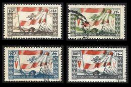 LIBAN  1946 -  YT 4 - 5 - 6 - 8  -  Drapeau -  Oblitéres  - Cote 5.60e - Liban