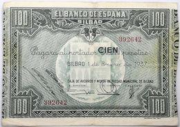 Billete 1937. 100 Pesetas. Bilbao. República Española. Guerra Civil. SS. Sin Serie. MBC. Caja De Ahorros Y Monte Piedad - [ 2] 1931-1936 : Republiek