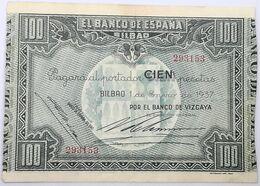 Billete 1937. 100 Pesetas. Bilbao. República Española. Guerra Civil. SS. Sin Serie. MBC. Banco De Vizcaya. Banco España - [ 2] 1931-1936 : Republiek
